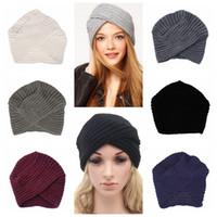 Wholesale skull cap cross for sale - Group buy 6styles Knitted winter cross hat women felt hat ladies turban head wrap caps for women twist headwrap Hat girls croceht beanies FFA1221