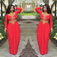 cuentas de coral rojo africano al por mayor-Morrocan Kftan Red Gold Beads vestidos de noche cuello alto manga larga estilo africano musulmán Prom vestidos formales por encargo Dubai Dubai vestidos