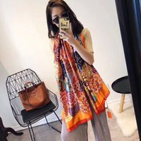 Wholesale christmas shawls - Brand luxury silk scarf 2018 New Designer women brand colorful shawl scarf fashion long ring Christmas gift wholesale A16