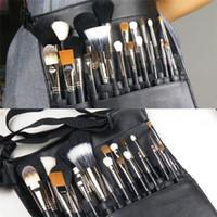 maquilagem aventais venda por atacado-Atacado-Black Professional Cosmetic Makeup Brush Bag Bag Artista Artist Belt Strap Titular Protable Make Up Bag Escova Cosmética Bag RD602229