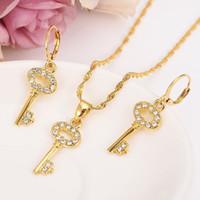 patrones para collares al por mayor-Collar de moda Set Mujeres Party Gift Solid Fine Gold Filled crystal cz key pattern colgante Pendientes conjuntos de joyería africana