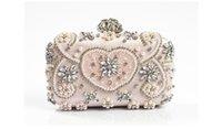 Wholesale Handmade Purse Crystal - Hot Sale 18104 Handmade Evening Clutch Purse Fashion Lady Designer Diamond Crystal rhinestone pearl beaded Evening Bag