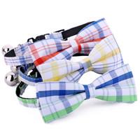 ingrosso colletto di bowtie-5pcs / pack Cute Cat Collar con campana staccabile personalizzata Personalizzato a mano piccolo collare di nylon Collar Pet Accessori