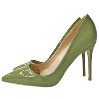 Wholesale shoes big mouth for sale - 2018 Europe New Dark Green Paten Snakeskin Stiletto Pointed High Heels Elegant Shoes Shallow Mouth Ladies Banquet Pumps Big Size