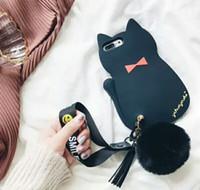 cas de gland achat en gros de-Belle 3D Chat Tassel Silicone Couverture De Téléphone Mignonne Dame Femmes Bracelet Dragonne Dos Coque Coque Arrière pour iPhone 10 6 7 8 Plus