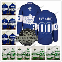 la costura clásica al por mayor-Custom 2017 Centennial Classic Blue # 34 Matthews Marner Morgan Rielly Cosido 100 ° Toronto Maple Leafs Hockey St. Patrick's Green Jersey S-4XL