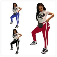 Wholesale Pink letter Printed Tracksuit T Shirt Sports Pants suits Girls women Casual Short Sleeve Tops And Jogger Set Outfits Sportswear best