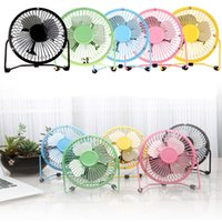 enfriador eléctrico al por mayor-USB Electric Metal Head Fan 360 Gire Metel Mute Radiator Fans Mini Portable Cooler Cooling Desktop Power PC Laptop ventilador de escritorio