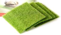пластиковый искусственный мх оптовых-Новый пластиковый искусственный зеленая трава DIY поддельные мох миниатюрный сад орнамент ремесло 15x15cm