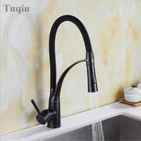 ingrosso miscelatore olio-Spedizione gratuita Black Oil Brush Mixer Faucet per Kitchen Single Handle Pull Down Sink Faucet Deck Mounted Crane per lavello.