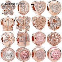 925 joyas de plata encantos de la corona al por mayor-FAHMI 100% 925 joyería de plata del encanto de oro rosa Corona regalo Tres perlas arco temperamento exquisito de la manera del grano vendimia de las señoras