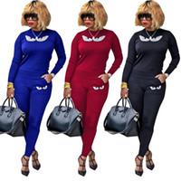Wholesale yoga pants rhinestones online - women designer sportswear long sleeve shirt pants tracksuit hoodie legging piece set bodycon outfits fashion sports set hot v8