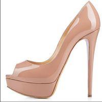 taille 14 talons achat en gros de-14 cm Marque femmes Red Bottoms Talons Sexy Peep-toe Plate-forme Rouge Semelle Chaussures Femmes Escarpins Chaussures à talons hauts taille 34-42