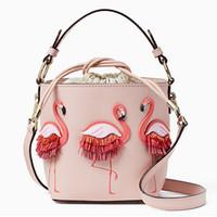 bolsos modası toptan satış-Deri Kadın Çanta Kadın Flamingo Kova Çanta Kadın Omuz Çantaları Tasarımcı Çanta Marka Moda Gösterisi Çantası Bolsos Mujer