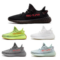 Wholesale zebra print brown - 2018 New 350 Boost V2 White Whale 2.0 Blue AH2203 SPLY 350 Zebra Frost White CP9366 Black Red Running Shoes Kanye West Sneakers