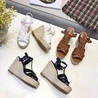 sandalias marrones de fondo grueso al por mayor-Blanco Marrón Negro Plataforma de Cuero Genuino Sandalia Zapatos de Verano Mujer Criss Cross correa Grueso inferior Cuña tacones altos Zapatos Sandalias Mujer
