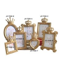 Wholesale Retro Carved Flower Golden Crown Photo Frame Originality Home Furnishing Eco Friendly Resin Personality Ornament Gift Fashion jx2 bb