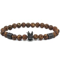 Wholesale imperial copper - Trendy Imperial Crown & Stoppers Bracelets Men Agate Bracelet And Natural Stone Beads For Women Men Jewelry Pulseras Mujer