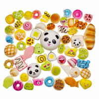 Wholesale bread man - IN STOCK! Free DHL 30 Different Styles Kawaii Squishy Rilakkuma Donut Soft Squishies Cute Banana Panda Bread Ice Cream Buns key Phone Chains