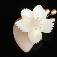 ingrosso figure di signora-FARLENA Original Design High-end Natural Shell Beautiful Lady Figura Spilla Pins Spilla in pietra semipreziosa naturale per le donne