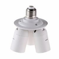 zócalos de lámpara e27 al por mayor-3 en 1 E27 Base Enchufe Divisor Lámpara Adaptador de bombilla Soporte para Softbox (E27-3E27) Para luz de cámara 110V-240V