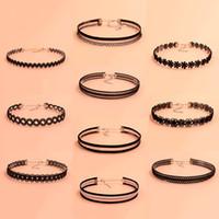 Wholesale statement pieces wholesale - Vintage Gothic Punk Grunge Stretch Collar Statement Necklace 10 piece set Black Lace Velvet Choker Necklaces for Women Charm Jewelry