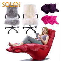 ingrosso coperture di sedia blu-Peluche Pelliccia di pelle di pecora Rug Rugs Sedia Copertina Regalo Soft Bedroom Decor Wool