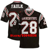 jerseys negros baratos del balompié al por mayor-Cheap Custom Men's Aztecs # 28 Marshall Faulk College Jersey de fútbol negro blanco coser jerseys