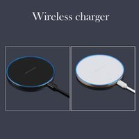 Wholesale Fast Thin - GY-68 Wireless Charger For iphone X 8 Galaxy S8 S7 S6 Ultra Thin Qi Fast Charger With Metal Edge Qi Wireless charger Pad OTH684