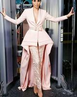 entwurfsspitze-abschlussballkleid großhandel-Neue Mode Prom Kleider Rock mit Hosen Rosa Spezielle Design Formale Kleider Mit Langen Ärmeln Abendkleider Spitze Gürtel Nach Maß