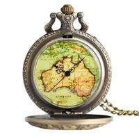 Wholesale vintage map watch - Antique Vintage Quartz 12 Constellations Case Retro Hollow Pocket Watch Australia Map Face Bronze Pendant Necklace Steampunk