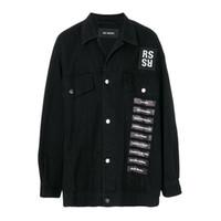 Wholesale Cotton Denim Shirts Men - RAF SIMMONS 18ss DENIM JACKET shirt PVC TAPE ASAP ROCKY STYLE LOng Sleeve JACKET Catwalk Show Product free ship