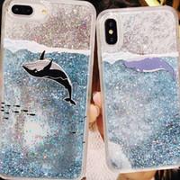 caixa do telefone do unicórnio brilho venda por atacado-Glitter líquido quicksand phone cases para iphone 6 6 s plus case bling unicórnio água lantejoulas paris para iphone 7 8 plus x case 200 pcs