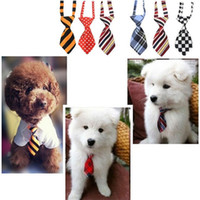 Wholesale polyester ties free shipping online - Fashion polyester silk pet tie dog headdress necktie ddjustable nice bow tie cat tie pet supplies color free ship