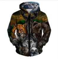 Wholesale print jumpers free shipping for sale – custom Newest Fashion Womens Mens Animal Wolf Funny d Print Zipper Jumper Sweatshirt Hoodies LL011