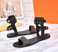 ingrosso donne marrone donna-2018 nuovi arrivati sandali piatti delle donne di lusso scarpe moda ragazza marrone sandali estate casual infradito moda scarpe 35-41 con la scatola 0011 #