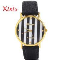 полосатые женские часы оптовых-Bracelets Women Top  Watch Women Black White Stripe Bracelets Quartz Wristwatch Gift Montre Femme Dropshipping