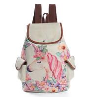 tuval desenli okul sırt çantası toptan satış-2018 fabrika selfdesign boynuzlu at hayvan desen baskılı keten kanvas omuz çantası öğrencilerin okul çantaları seyahat sırt çantası toptan fiyat