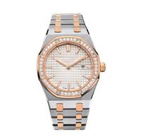 diamantes antiguos al por mayor-Las mujeres de lujo relojes de diamantes Modelo clásico Relojes de pulsera de alta calidad de oro / plata de acero inoxidable Relojes de señora con Diamo freeshipp