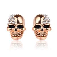 Wholesale men earring skeleton for sale - Group buy Rhinestone Rock Skull Crystal Tone Stud Earrings For Women Men Earrings Hiphop Jewelry Skeleton Earring