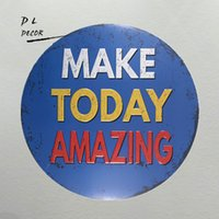 Wholesale Blue Metal Wall Art - DL-make today amazing blue classic metal sign mancave decorations home wall sticker
