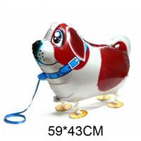 aufblasbarer haustierballon großhandel-Kleiner Hund Haustiere Ballon Hohe Qualität Günstige Walking Tier Ballon Aufblasbare Aluminium Walking Pet Ballon Weihnachtsdekoration Kinder Spielzeug