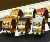 große breite armbänder großhandel-Mode Gürtel Leder Handgelenk Freundschaft Große Breite Armband für Männer Punk Schmuck luxusmarke schmuck Willow nagel armreif armbänder