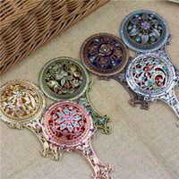 Wholesale engraved cosmetic mirrors for sale - Group buy 7 Colors Hollow Out Makeup Mirror Comb Set Retro Classic Vintage Compact Copper Golden Cosmetic Held Hand Mirror with Hair Comb AAA394