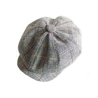 Wholesale wool gatsby cap - Fashion Wool Tweed Cabbie Newsboy Gatsby Cap Mens Ivy Hat Golf Driving Flat Gray Useful