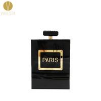 caja del teléfono monedero al por mayor-PARIS PERFUME BOTTLE HARD CLUTCH - Estilo de moda para mujer Caja de acrílico para la moda Caja del teléfono Declaración de novedad Bolso bolso de cadena Bolso
