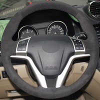 Wholesale car hover online - All Black Suede DIY Hand stitched Car Steering Wheel Cover for Great Wall Haval Hover H6