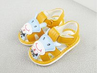 Wholesale sole cute for sale - Cute Animal Sandals Yellow Fashion Cheap Soft Sole comfortable Pink Leather Flat Footwear shoes