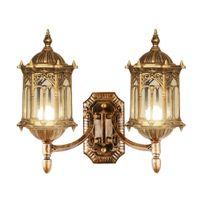 lâmpadas de parede exteriores europeias venda por atacado-Luxo Bronze Ao Ar Livre Villa 2 Lâmpadas Lâmpadas de Parede Portão Europeu à prova d 'água Paisagem Corredor Exterior Corredor de Parede Arandelas