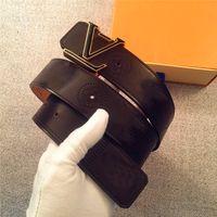 metal harfler toptan satış-Moda tasarımcı kemer aksesuarları erkekler metal harfler basit klasik toka kemer kemer 4.0 cm en kaliteli kutusu ile